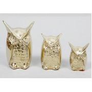 Трио совы золотистый 7х4,5 см.