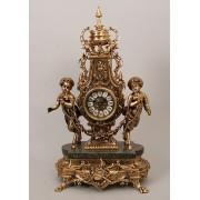 Часы сатиры с гирляндой с мрам. цвет - золото 63х35см
