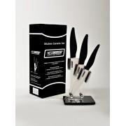 Набор из 3 керамических ножей с лезвиями из белой керамики с подставкой