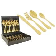 Набор столовых приборов 24 предмета на 6 персон Antique Titanium Gold в деревянной коробке